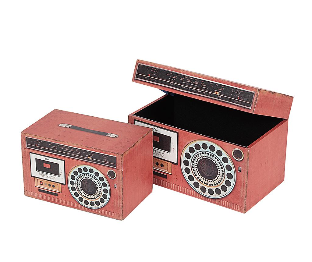 Set 2 cutii cu capac Radio Fun - Disraeli, Rosu