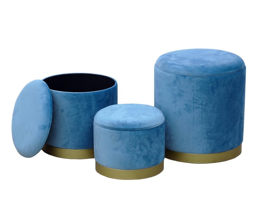 Set 3 taburete Reyna Blue - Disraeli, Albastru