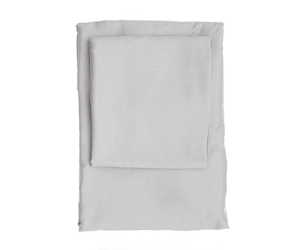Cearsaf de pat cu elastic Dena Light Grey Satin 180x200 cm - Patik, Gri & Argintiu