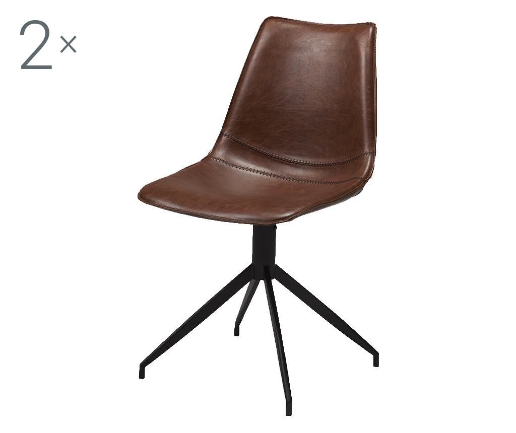 Set 2 scaune Isabel Light Brown - Furnhouse, Maro,Negru