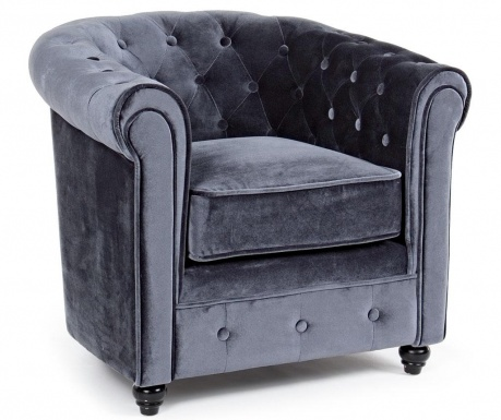 Fotel Chesterfield Velvet Grey