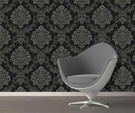 Stenska tapeta Palazzo Damask Black Silver 53x1005 cm