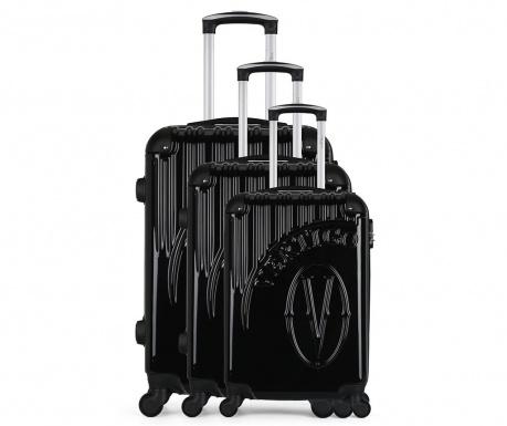 Osaka Black 3 db Gurulós bőrönd