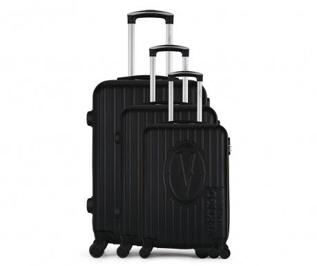 Bogota Black 3 db Gurulós bőrönd