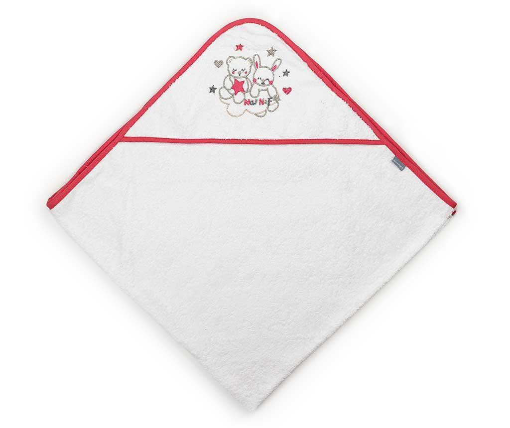 Prosop de baie cu gluga Friends Red Strip 100×100 cm