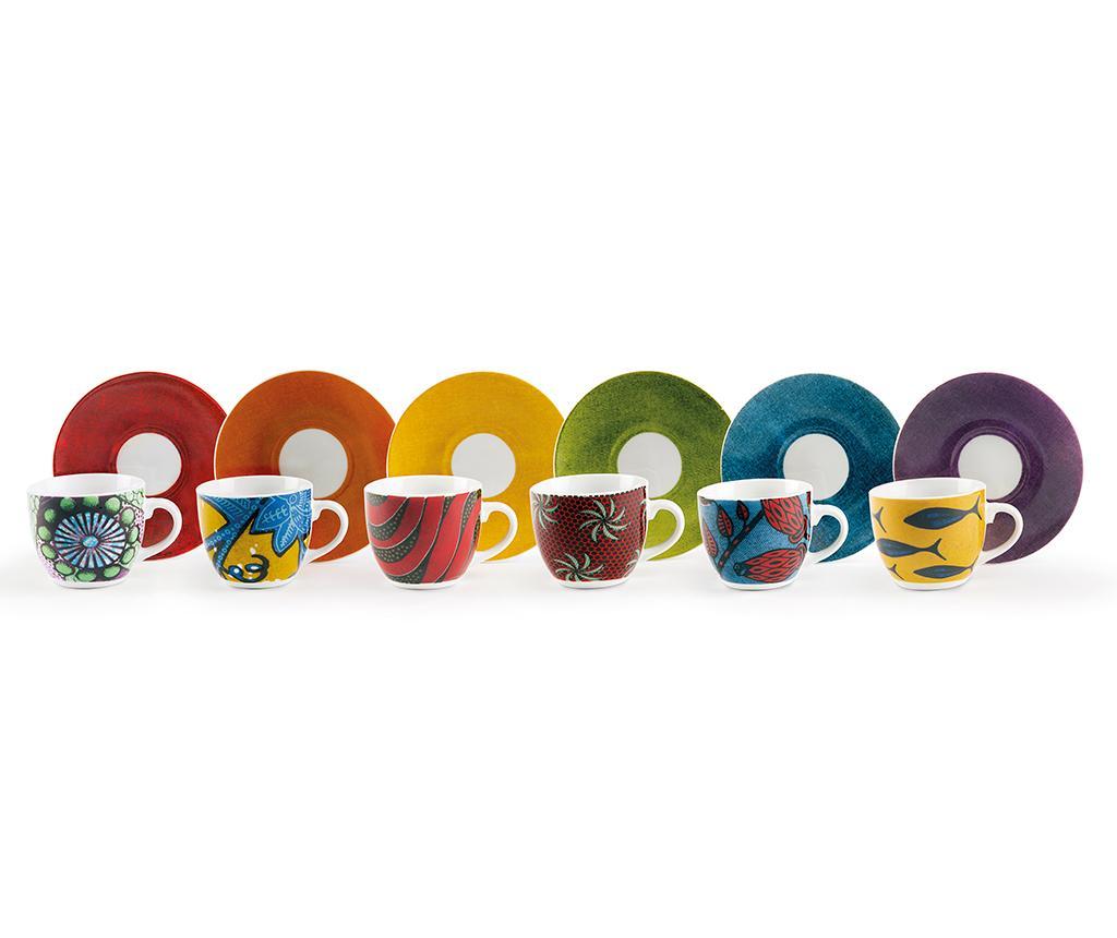 Set 6 cesti si 6 farfurioare Afrika Multi - Excelsa, Multicolor