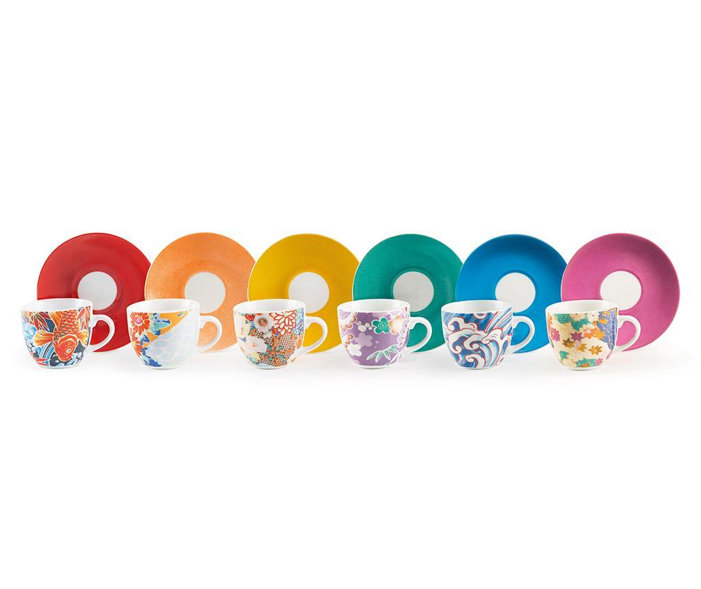 Set 6 cesti si 6 farfurioare Kimono Multi - Excelsa, Multicolor