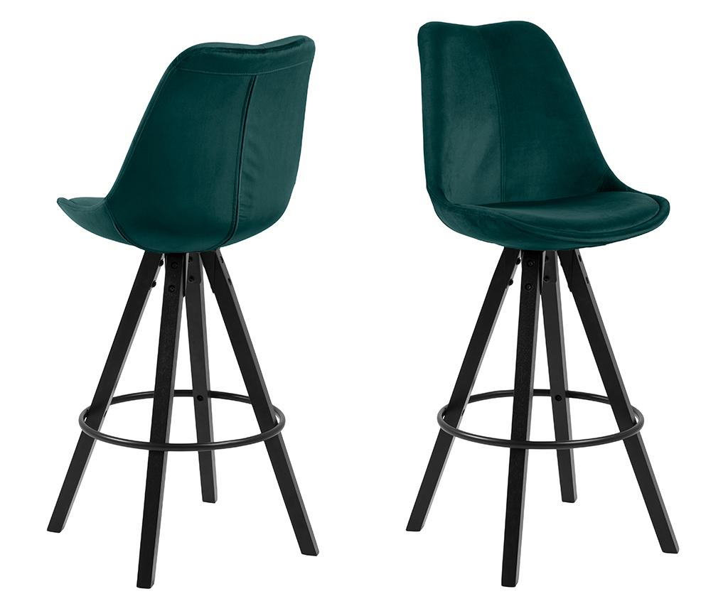 Set Scaune Bar Dima Dark Green Black Verde