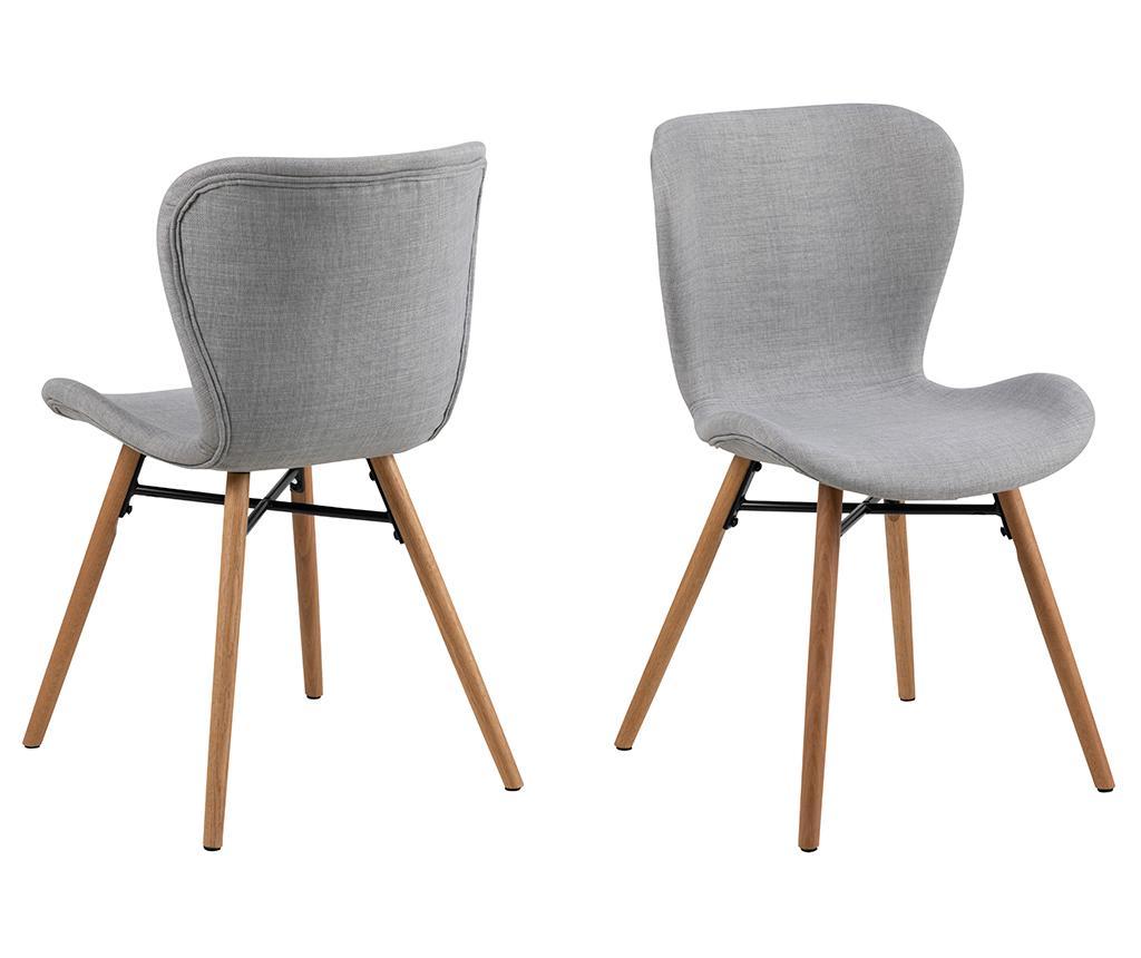 Set 2 scaune Batilda Grey - actona, Gri & Argintiu