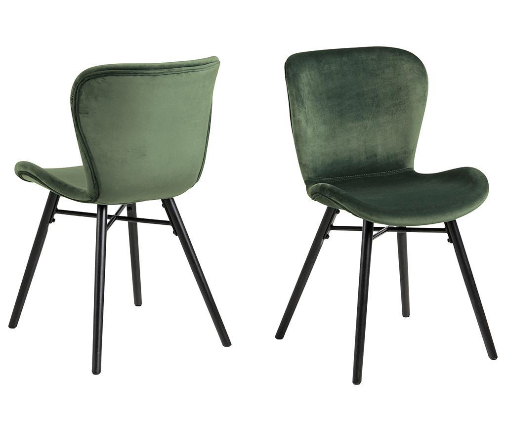 Set 2 scaune Batilda Velvet Green - actona, Verde