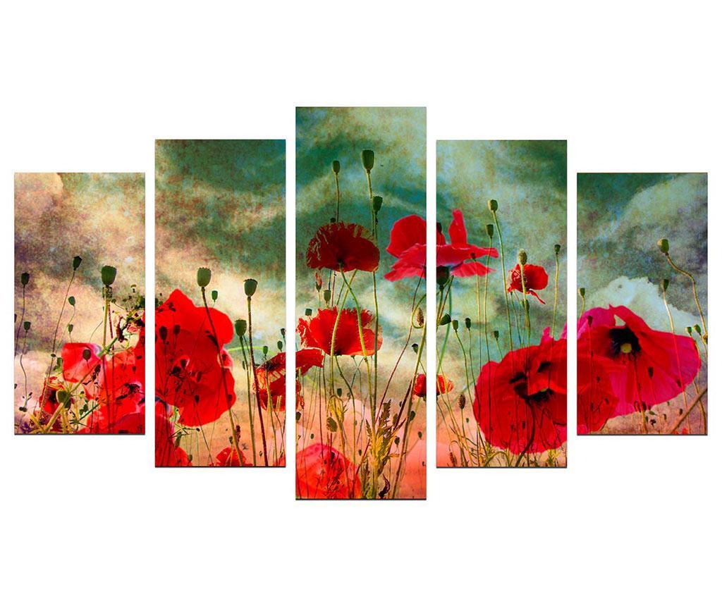 Set 5 tablouri Poppy Field - Charm, Rosu,Verde