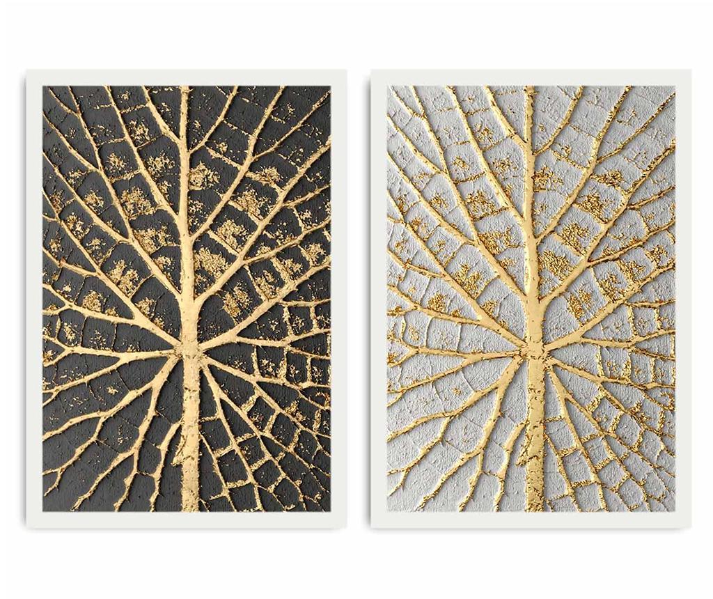 Set 2 tablouri Leaf Detai 35x50 cm - Alpha wall, Galben & Auriu,Gri & Argintiu