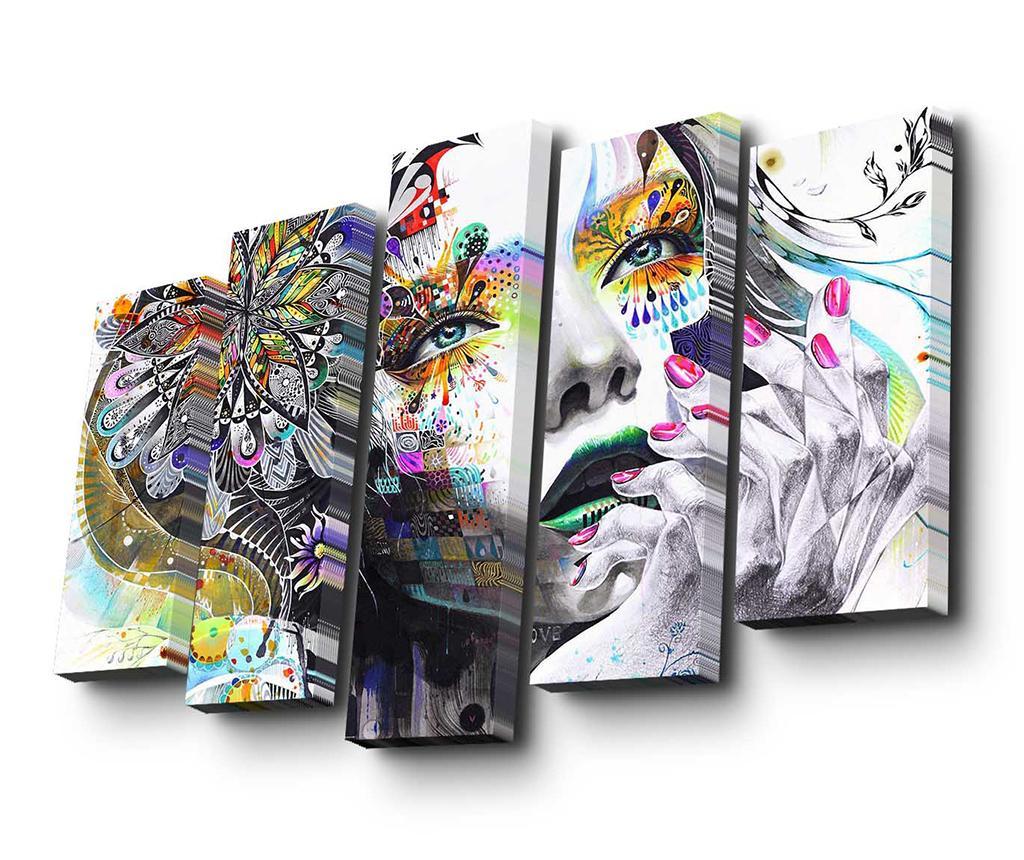 Set 5 tablouri Floral Face Art - Art Five, Multicolor