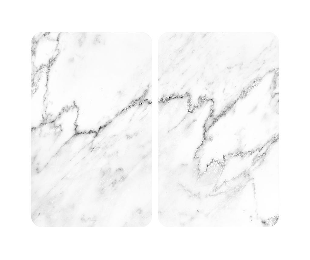 Set 2 plansete protectoare pentru plita Marble - Wenko, Gri & Argintiu