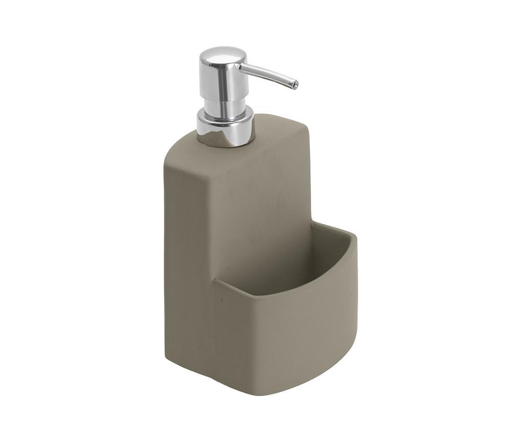 Dispenser detergent lichid de vase cu suport Jeff 380 ml - Wenko, Gri & Argintiu