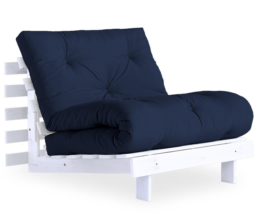 Fotoliu extensibil Roots White & Navy 90x200 cm - Karup Design, Albastru