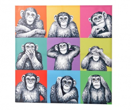 Singes Multiples Kép 100x100 cm