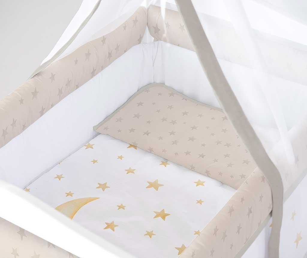 Set - otroška posteljica z baldahinom in dodatki Marlon Night Square Beige