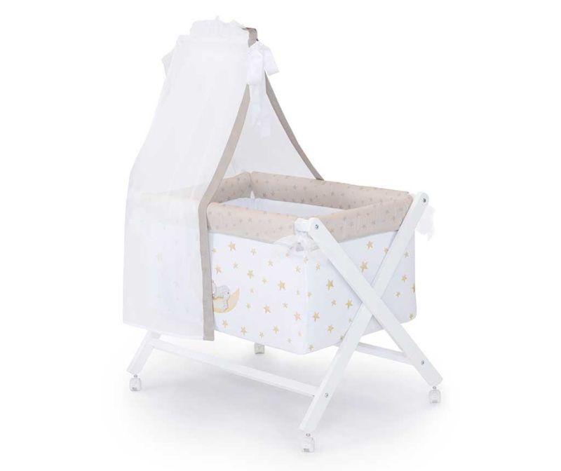 Set - otroška posteljica z baldahinom in dodatki Marlon Night Beige