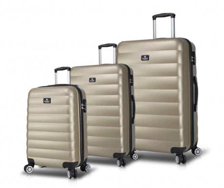 Set 3 kovčkov na kolesih USB Lara Gold