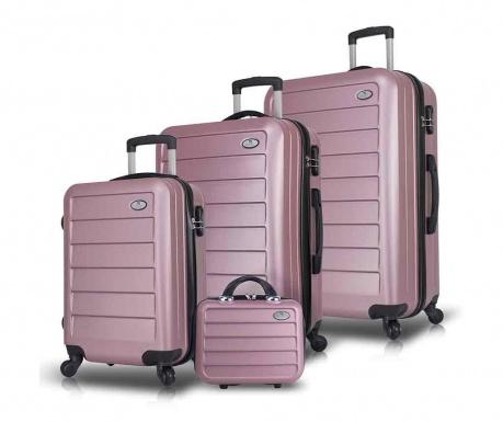 Set 3 kovčkov na kolesih in toaletne torbe Iuki Rose Gold