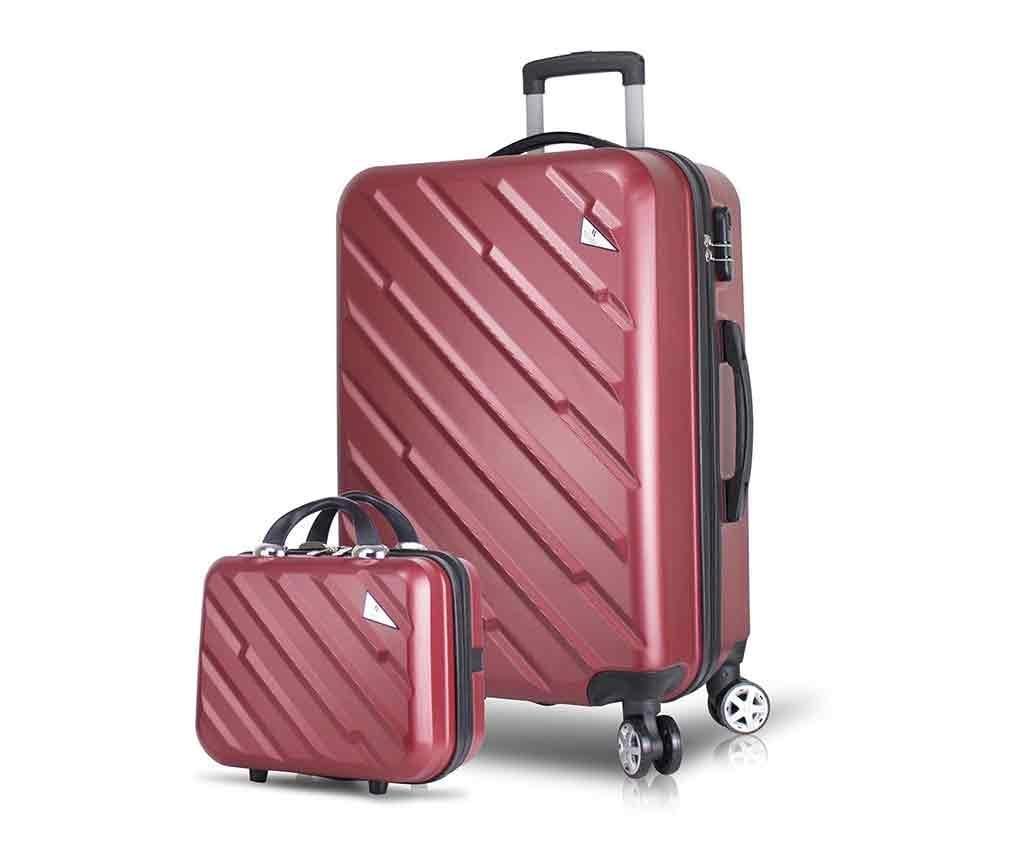 Alice Wide Claret Red Gurulós bőrönd és kozmetikai táska