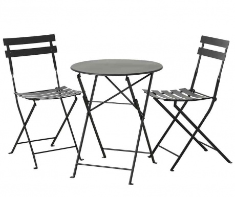 Sada venkovní stůl a 2 židle Rico Black