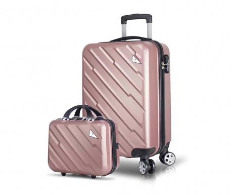 Set - kovček na kolesih in toaletna torba Alice Rose Gold