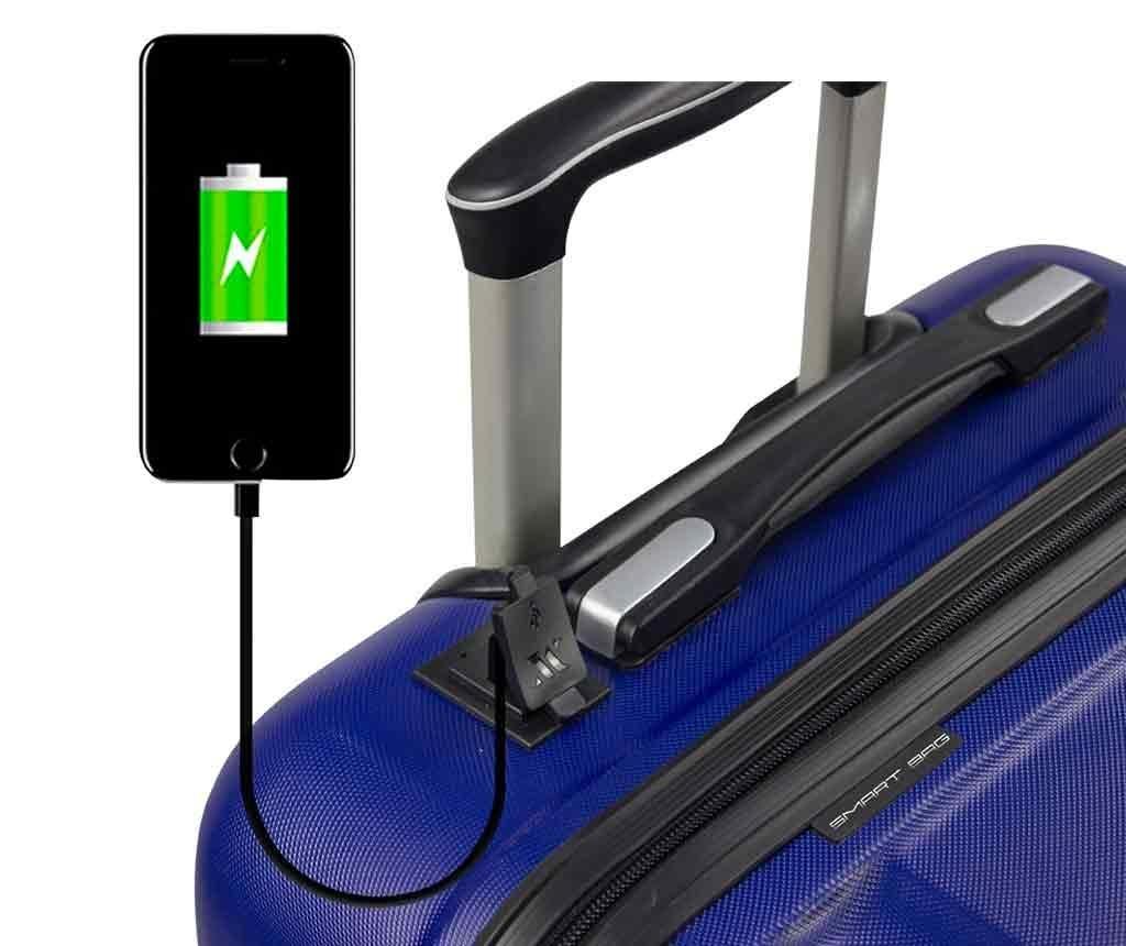 USB Hugh Dark Blue Gurulós bőrönd
