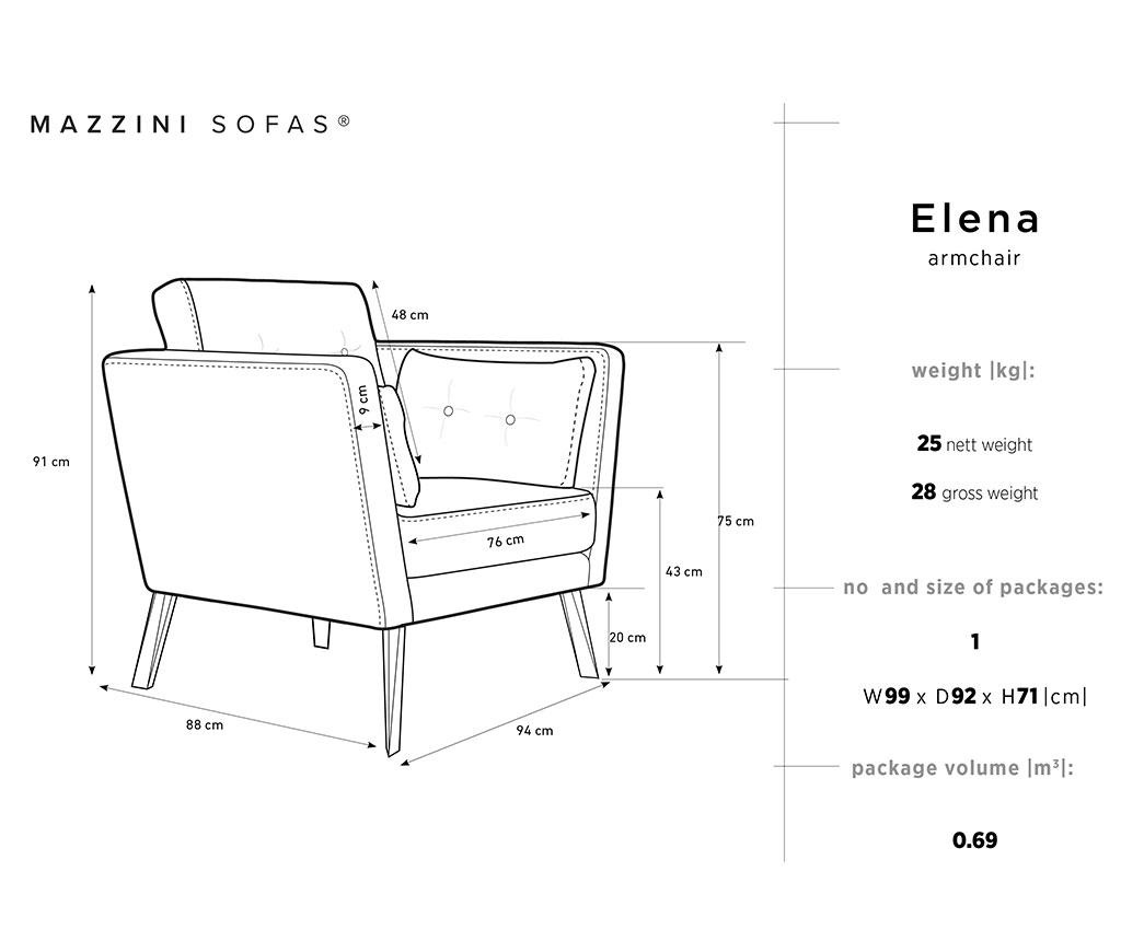 Fotelja Elena Eli Light Grey