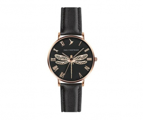 Emily Westwood Dragonfly Black Leather Női karóra