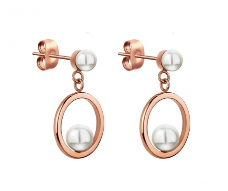 Uhani Round Pearl Rose Gold