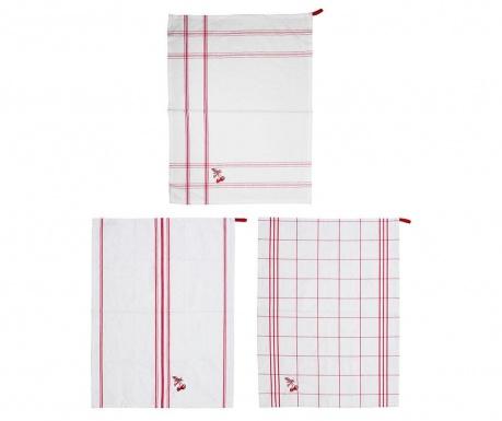 Zestaw 3 ręczników kuchennych Giunguette Red 50x70 cm