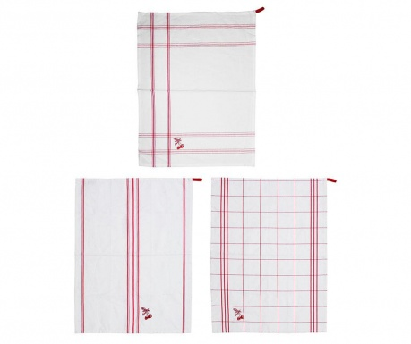 Set 3 kuhinjskih brisač Giunguette Red 50x70 cm