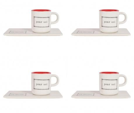Set 4 skodelic in 4 servirnih krožnikov Paire Coffee