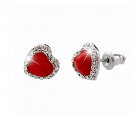 Cercei Laura Bruni Crystal Heart Swarovski Red