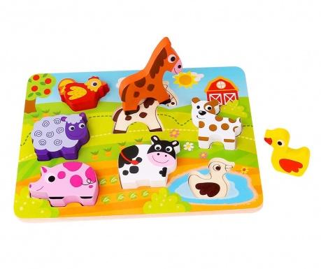 Joc tip puzzle 7 piese Chunky Puzzle  Farm