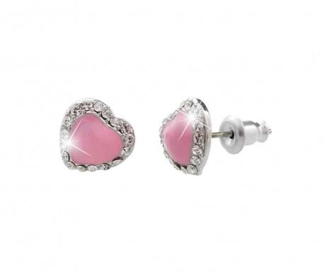 Cercei Laura Bruni Crystal Heart Swarovski Pink