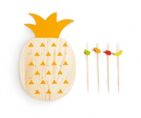 Set 15 betisoare pentru aperitive si suport Tropical Pineapple