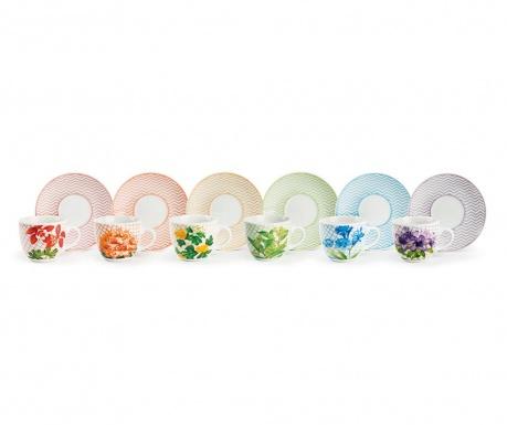 Set 6 cesti si 6 farfurioare Floral Multi