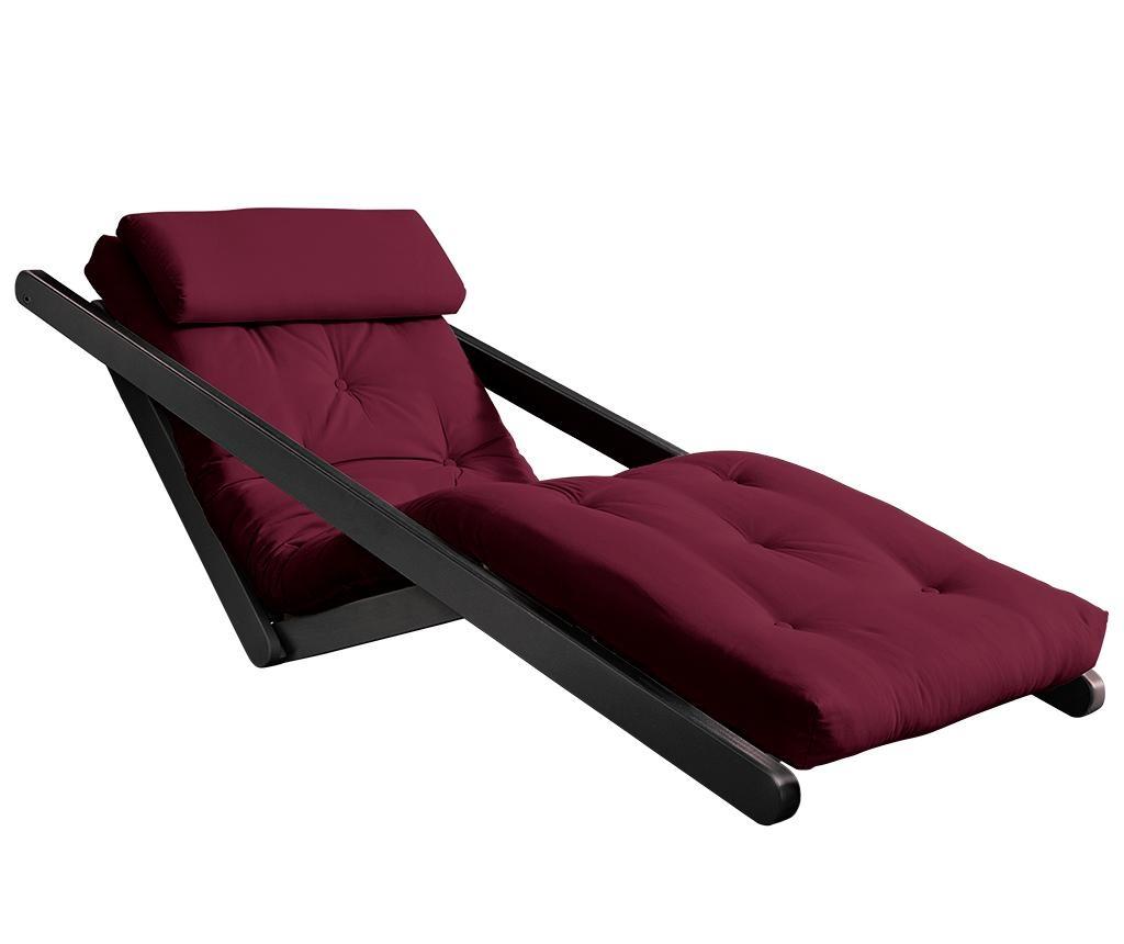 Raztegljiv počivalnik za dnevno sobo Figo Black & Bordeaux 70x200 cm