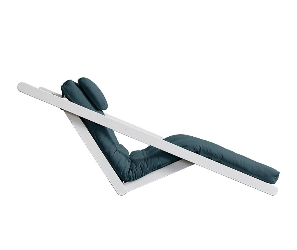 Raztegljiv počivalnik za dnevno sobo Figo White & Petrol Blue 70x200 cm
