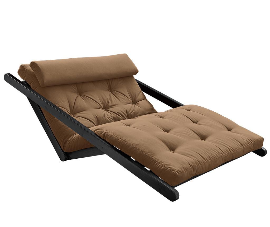 Raztegljiv počivalnik za dnevno sobo Figo Black & Mocca 120x200 cm