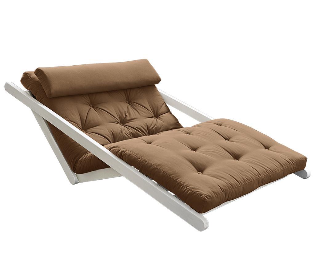 Raztegljiv počivalnik za dnevno sobo Figo White & Mocca 120x200 cm
