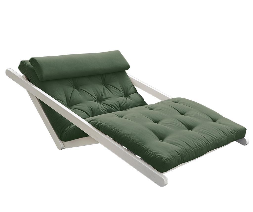 Raztegljiv počivalnik za dnevno sobo Figo White & Olive Green 120x200 cm