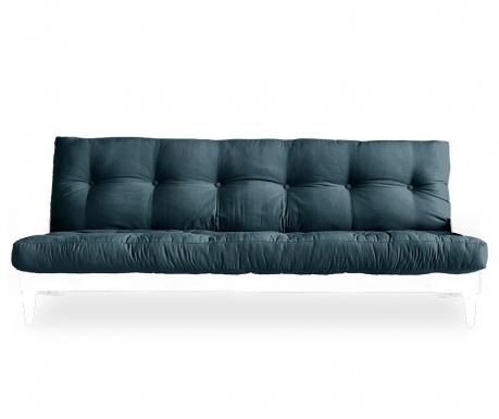 Sofa extensibila Indie White & Petrol Blue 130x190 cm