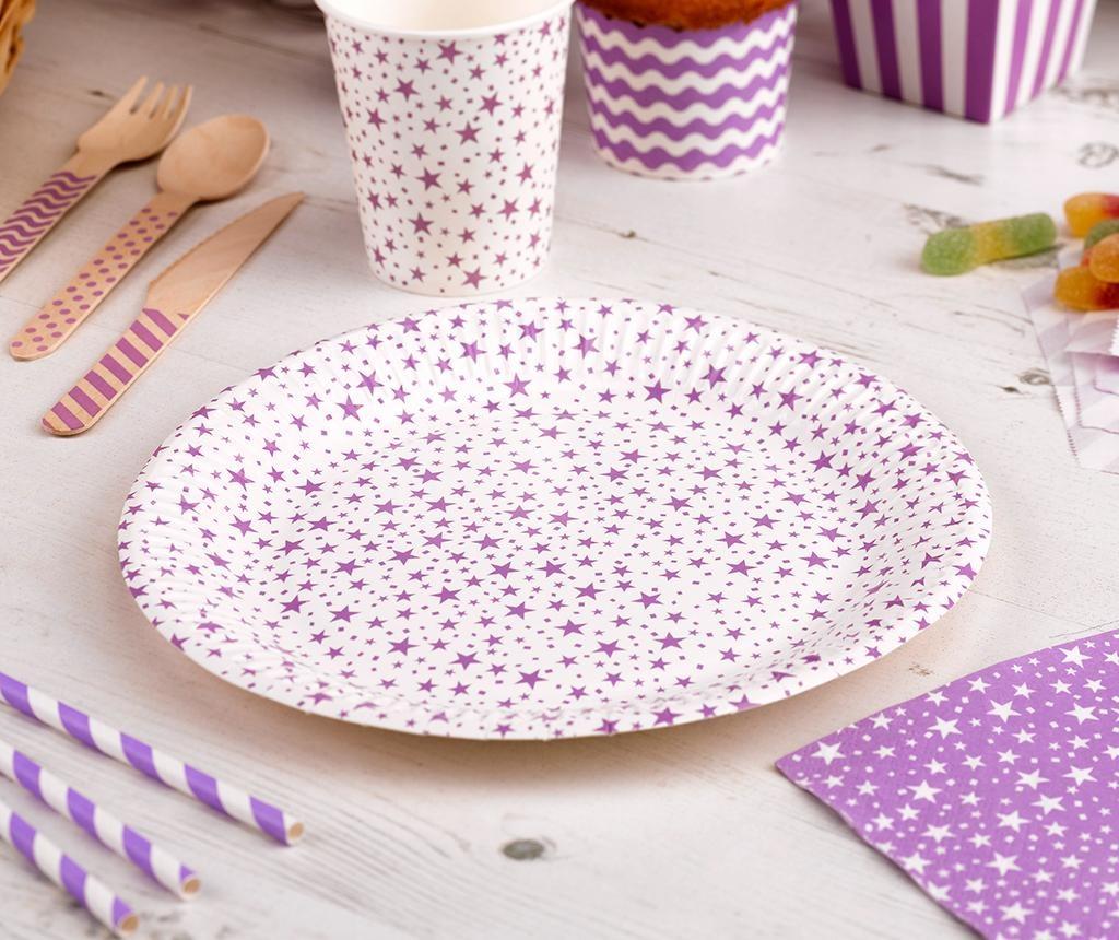 Set 8 krožnikov za enkratno uporabo Carnival Stars Purple