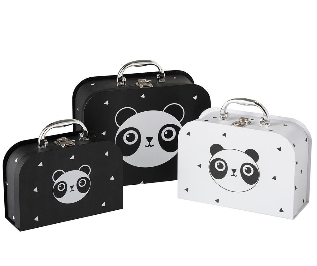 Set 3 cutii tip valiza Triuka - J-line, Alb,Negru