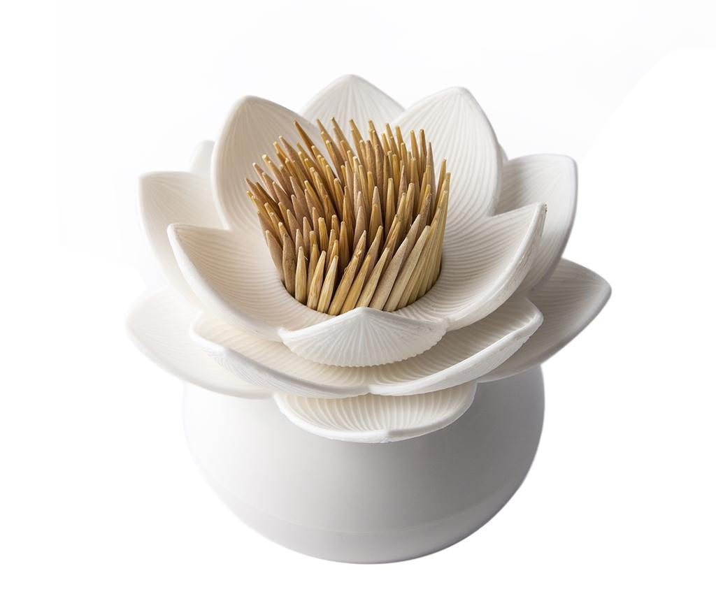 Suport pentru scobitori Lotus White - Qualy, Alb