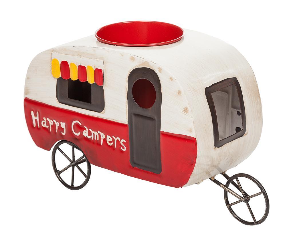 Suport pentru ghiveci Vintage Happy Campers - Creaciones Meng, Alb,Rosu